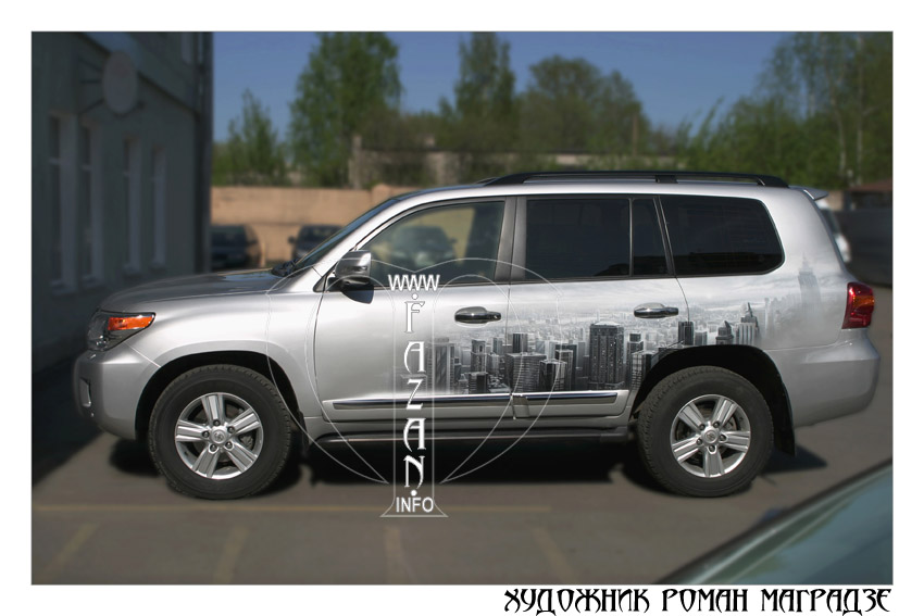 Аэрография на серебристом автомобиле Toyota Land Cruiser 200. Фото 16.