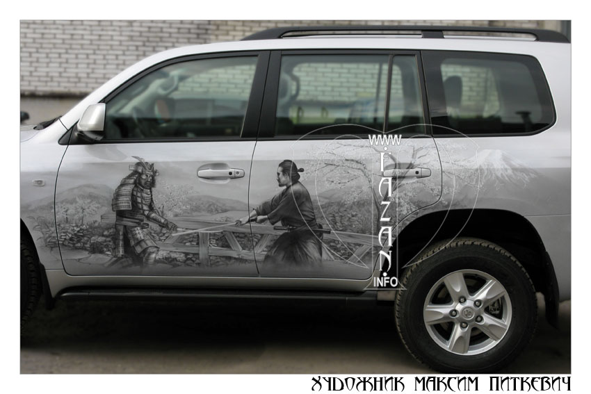 Аэрография самураев на автомобиле TOYOTA LAND CRUISER 200, фото 04.