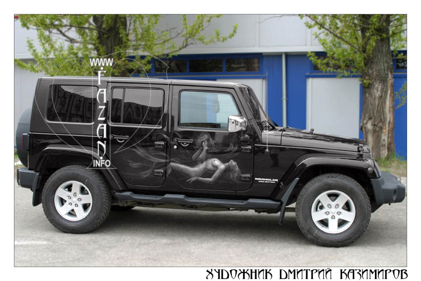 Аэрография на автомобиле Jeep Wrangler Safari. Фото 05.