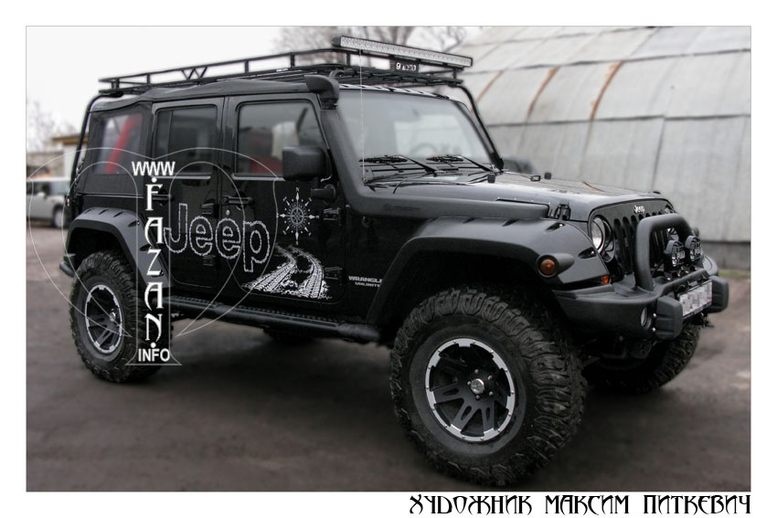 Аэрография со следом протектора на черном автомобиле JEEP WRANGLER RUBICON, фото 02.