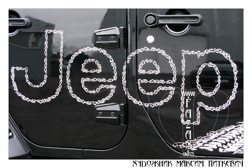Аэрография со следом протектора на черном автомобиле JEEP WRANGLER RUBICON, фото 07.