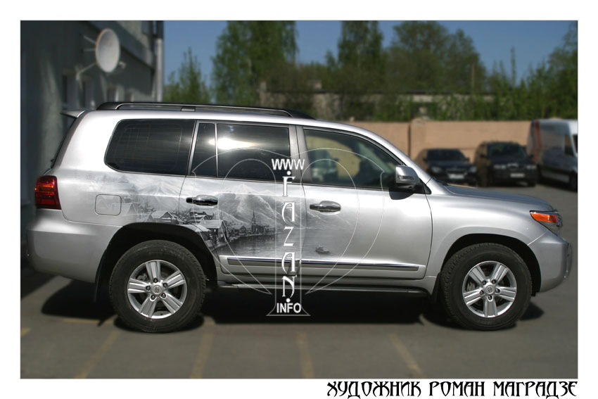 Аэрография на серебристом автомобиле Toyota Land Cruiser 200. Фото 02.