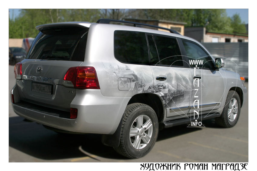 Аэрография на серебристом автомобиле Toyota Land Cruiser 200. Фото 03.