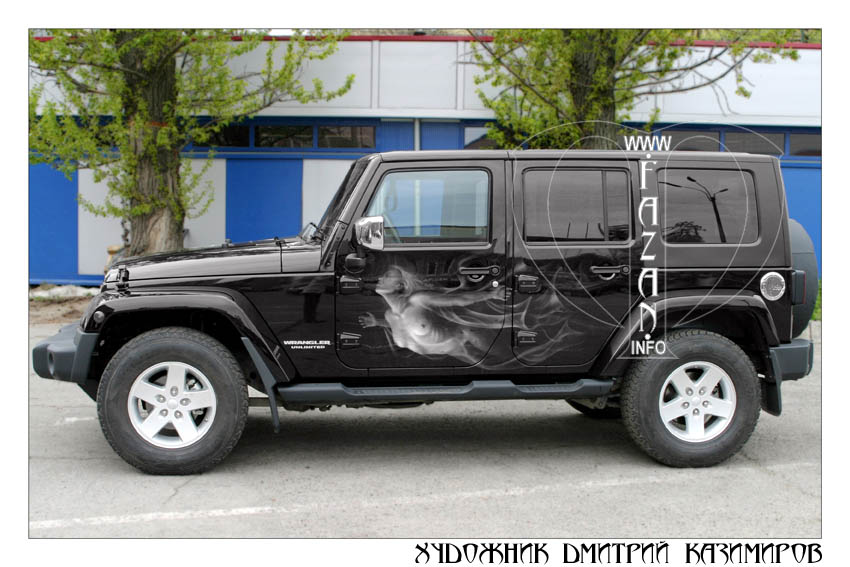 Аэрография на автомобиле Jeep Wrangler Safari. Фото 01.